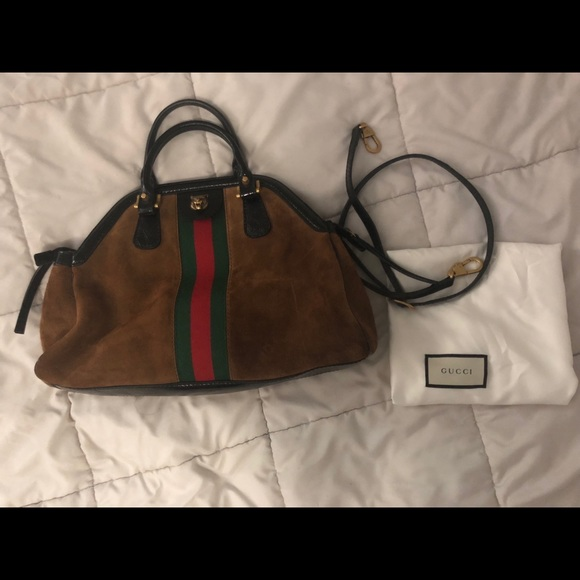 aad64ae32d86 Gucci Bags   Rebelle Medium Top Handle Suede Satchel   Poshmark